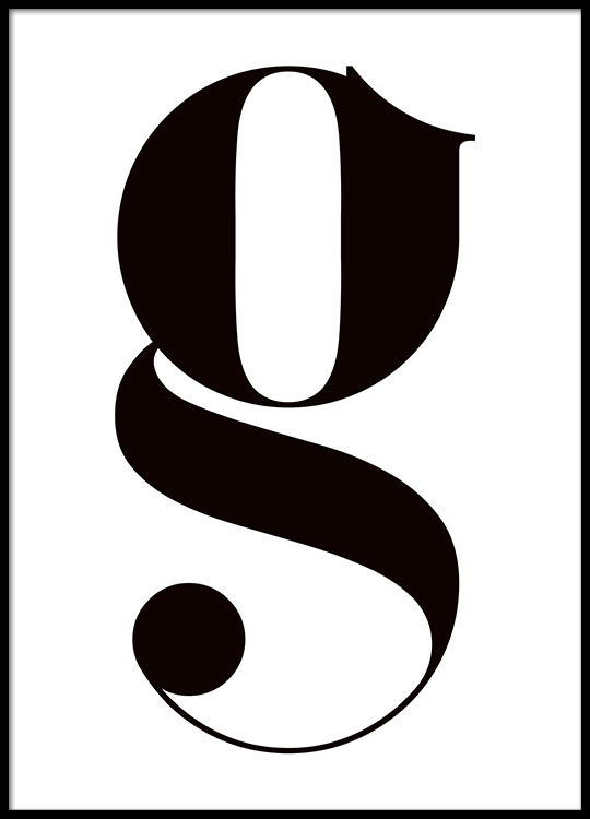 Poster With Small Letter G Typography In Black And White