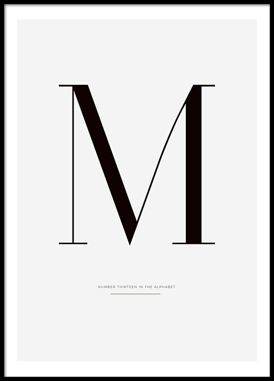 black and white tyopgraphy print with letter m posters online. Black Bedroom Furniture Sets. Home Design Ideas