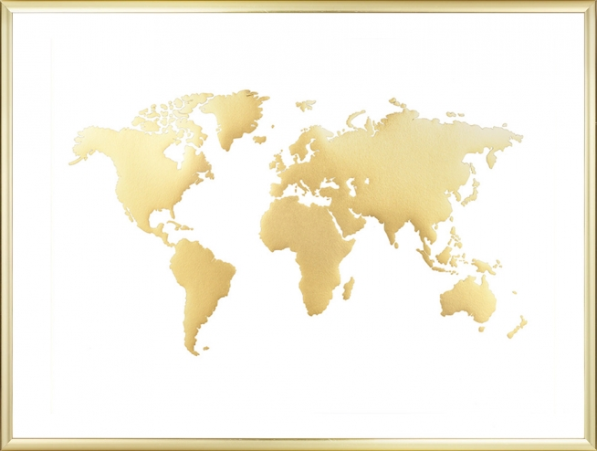 World map poster prints with gold brass interior design world map poster with gold print golden interior gumiabroncs Images