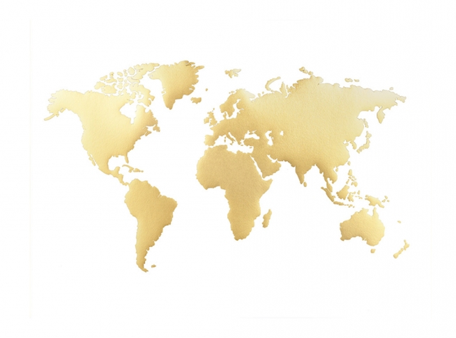 World Map Poster, Gold / World maps at Desenio AB (7941)