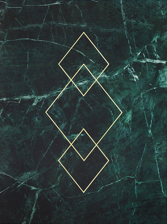 – Green marble print with gold rhombuses in the middle
