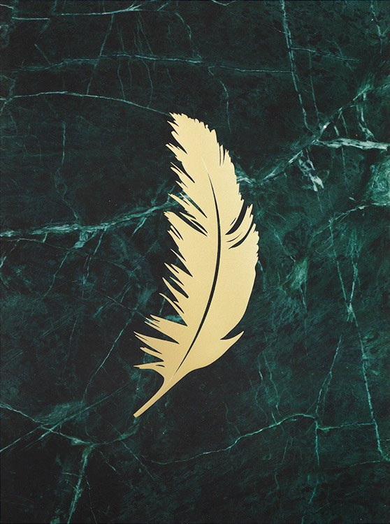 – A green marble background behind a feather in gold