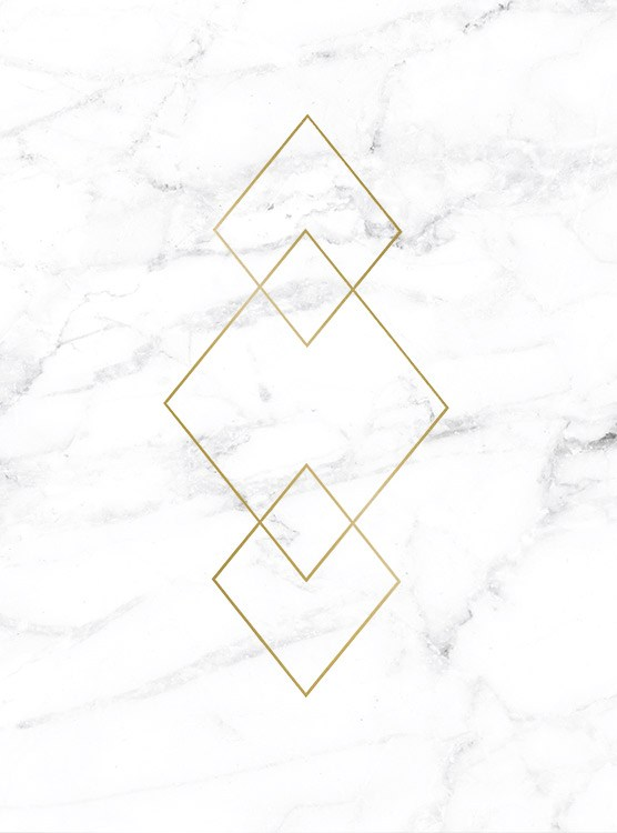 – White and grey marble behind a set of three gold triangles