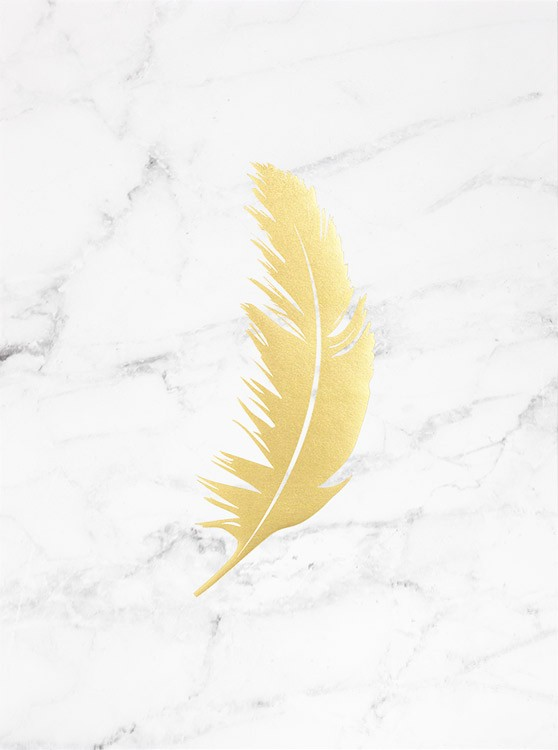 – Feather in gold printed with gold foil on a white and grey marble background