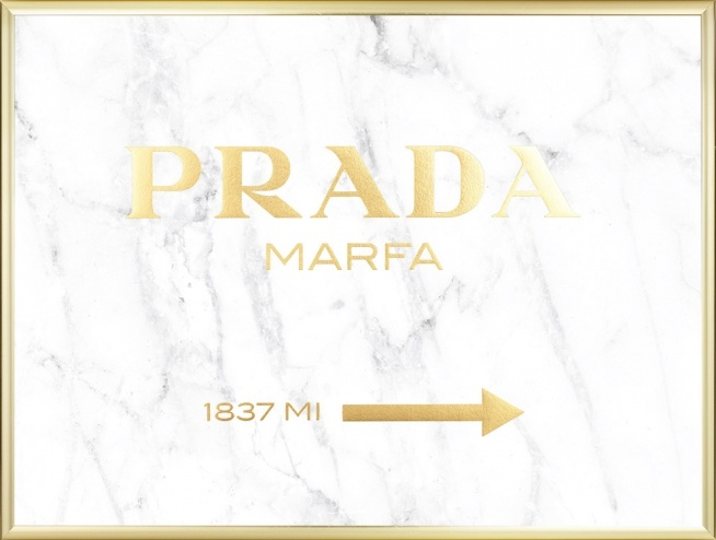 poster prada marfa with gold text on marble prints online. Black Bedroom Furniture Sets. Home Design Ideas
