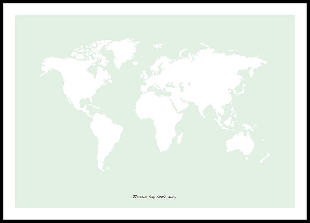 World map poster in green art prints and posters online world map poster in light green with text gumiabroncs Images