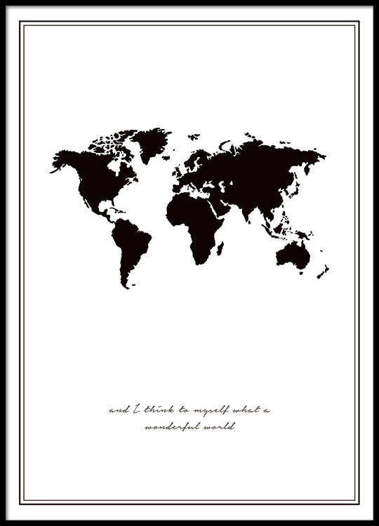 print with world map black and white posters online. Black Bedroom Furniture Sets. Home Design Ideas
