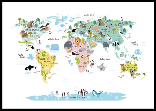 Kids poster with world map with animals. Nice posters and prints for ...