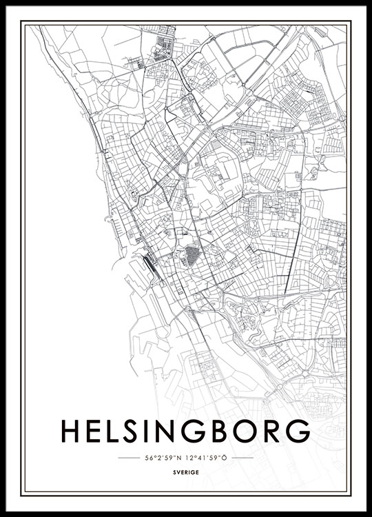Poster with Helsingborg map Prints of cities