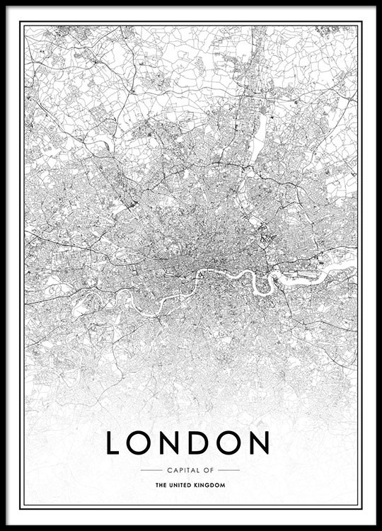 Stylish poster with map of london prints online for picture wall
