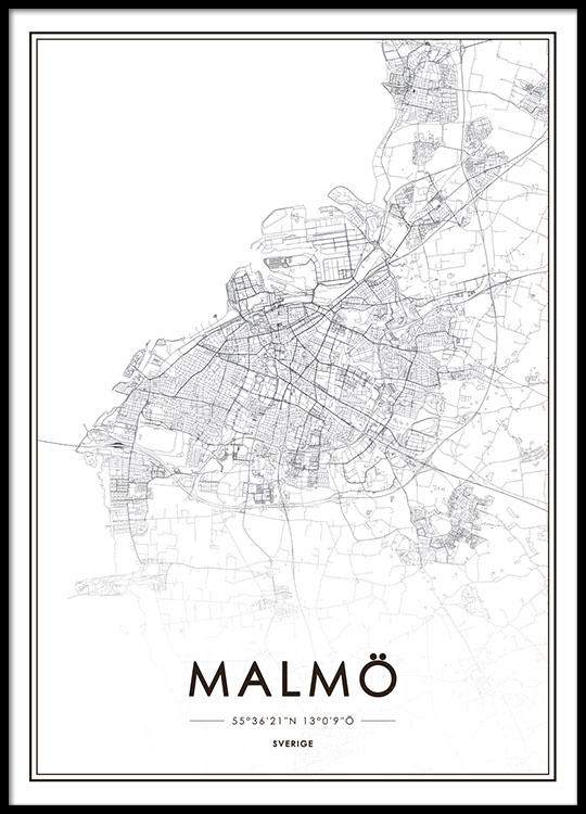 Poster with Malm map Prints online Prints of cities