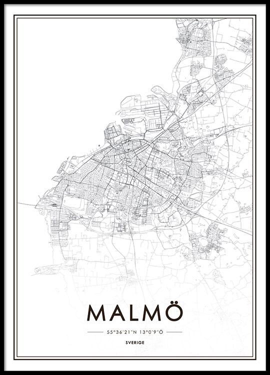 malmö karta poster Poster with Malmö map | Prints online | Prints of cities malmö karta poster