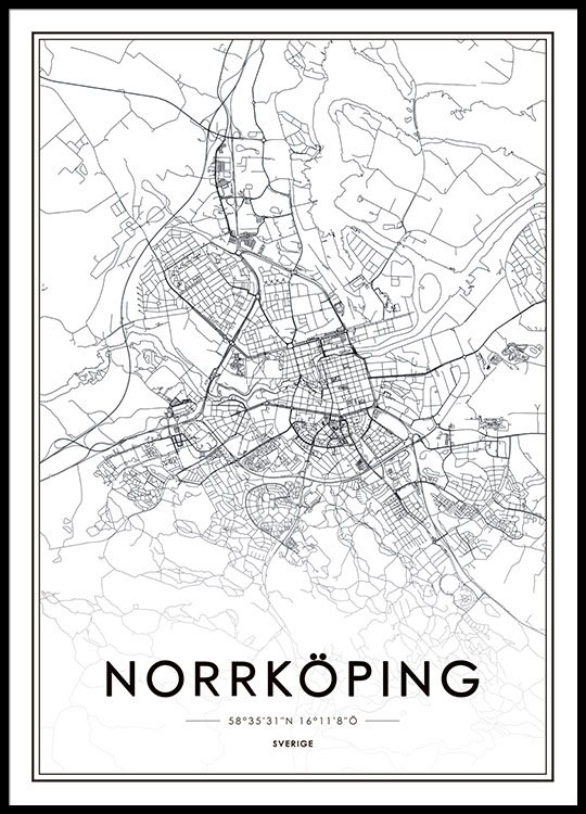Print of Norrkping map Posters and prints of cities online
