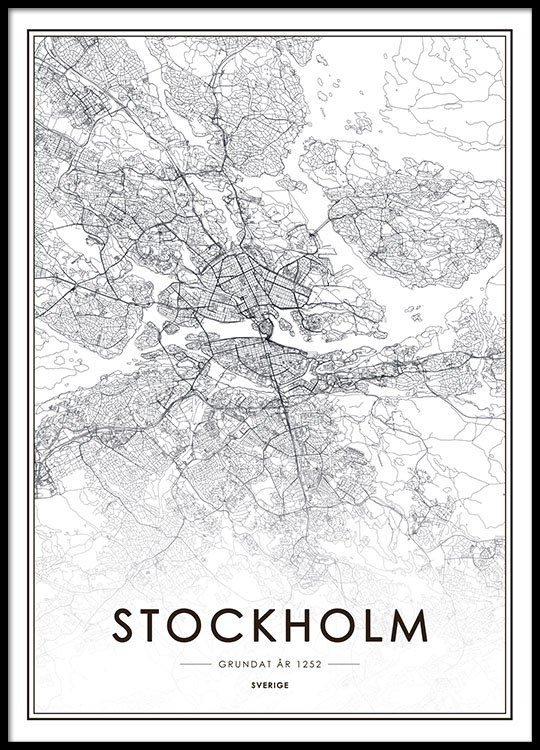 Map Of Uk Black And White.Stockholm Map Poster