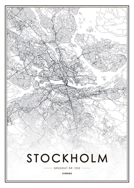 Stockholm Map, Poster / Black & white at Desenio AB (8131)