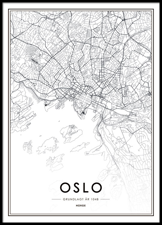 plakat kart Oslo poster with map | Black and white print with map of Oslo  plakat kart