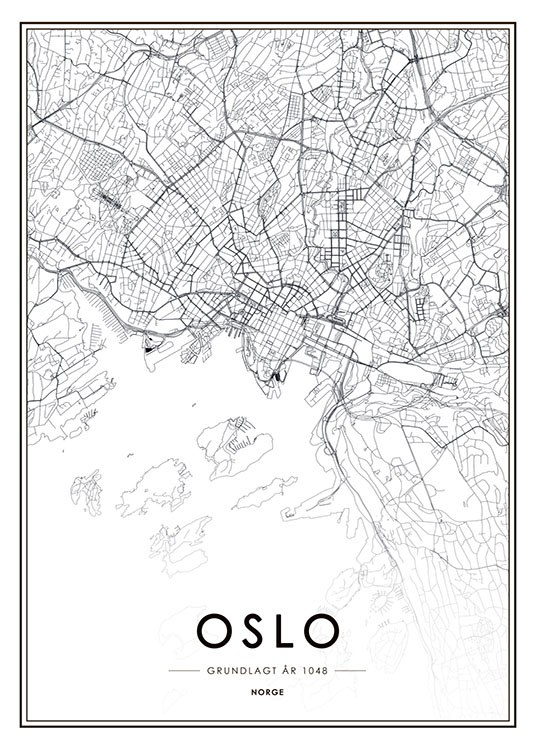 Oslo Map B&W, Print / Black & white at Desenio AB (8177)