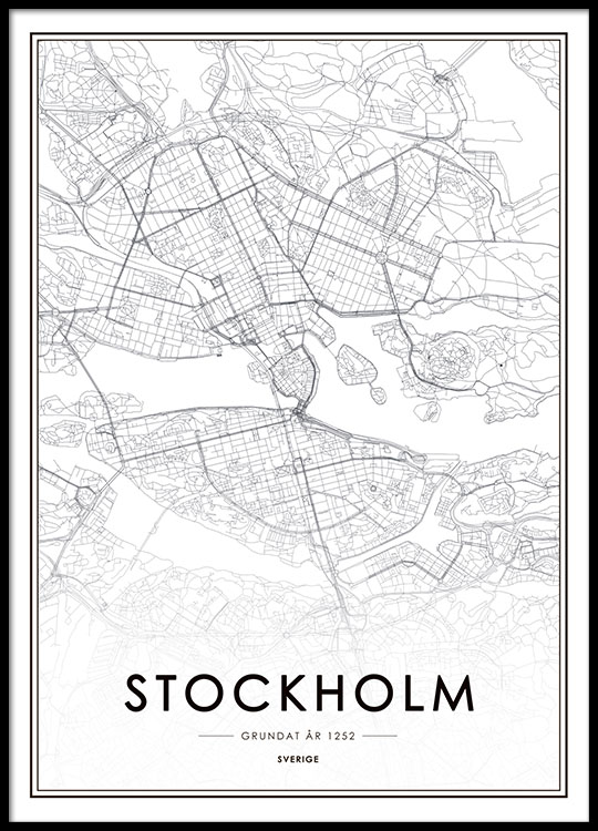 Map Of Uk Black And White.Stockholm City Map Poster