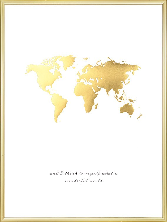 Poster of world map in gold print with gold print stylish decor print with world map in gold and text nice for interior design in gold and gumiabroncs Gallery