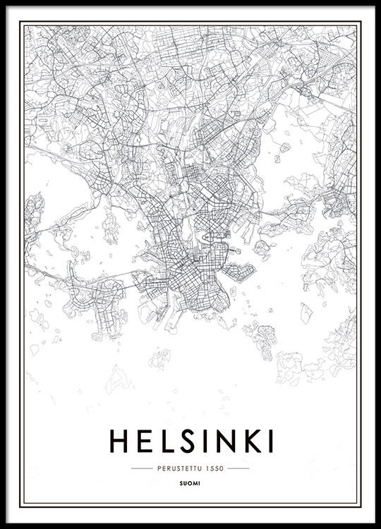 Helsinki map poster in the group prints maps cities at desenio ab