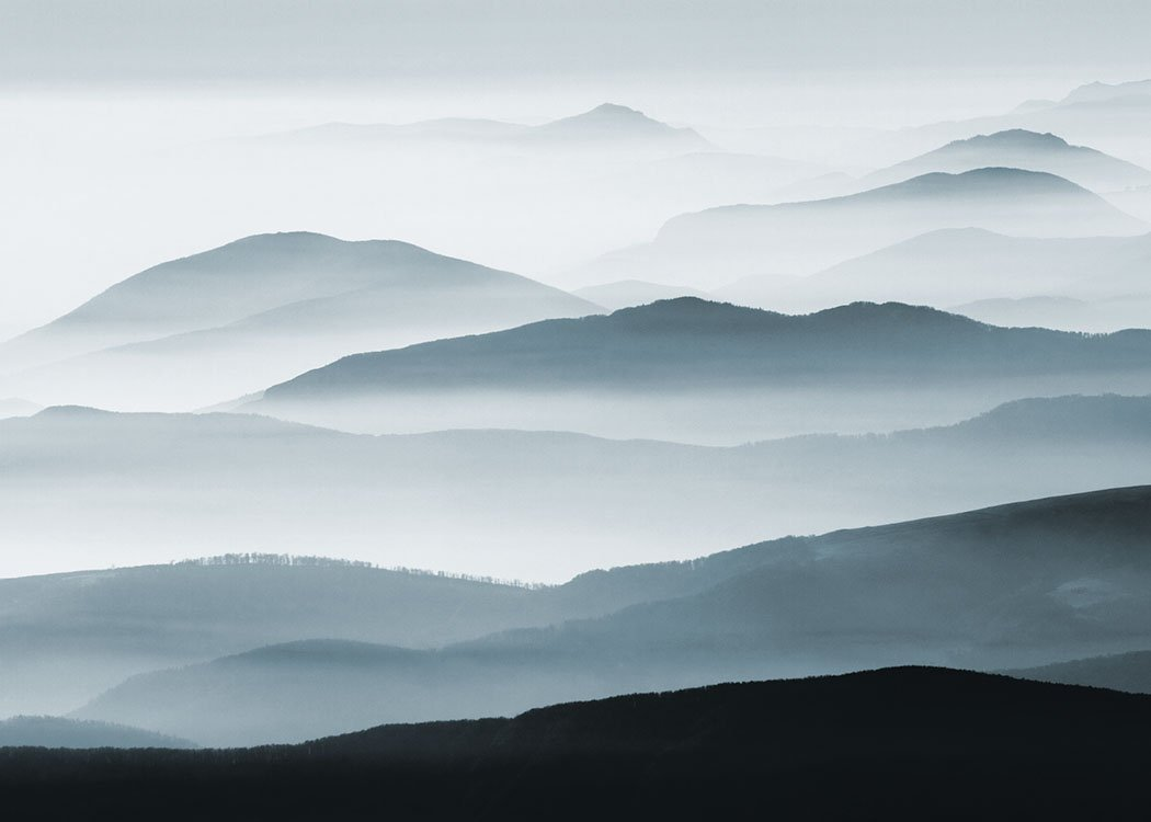 Poster Of Mountains And Fog, Beautiful Nature Photo