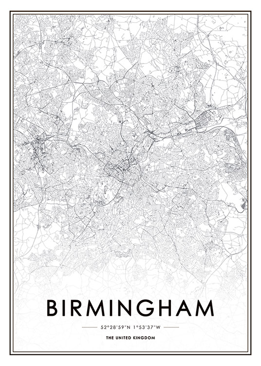 Map Of Uk Black And White.Birmingham Poster