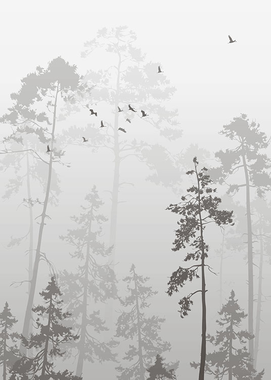 Foggy Forest, Poster / Black & white at Desenio AB (8352)