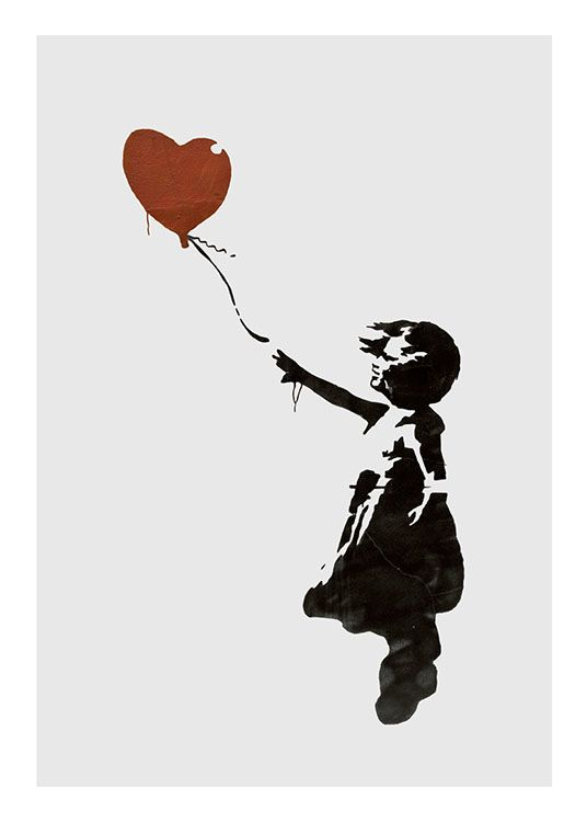 Girl With Love Balloon Grey, Poster / Kids wall art at Desenio AB (8446)
