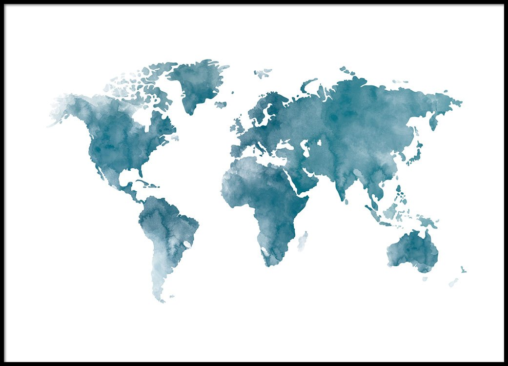 World map blue poster gumiabroncs Image collections