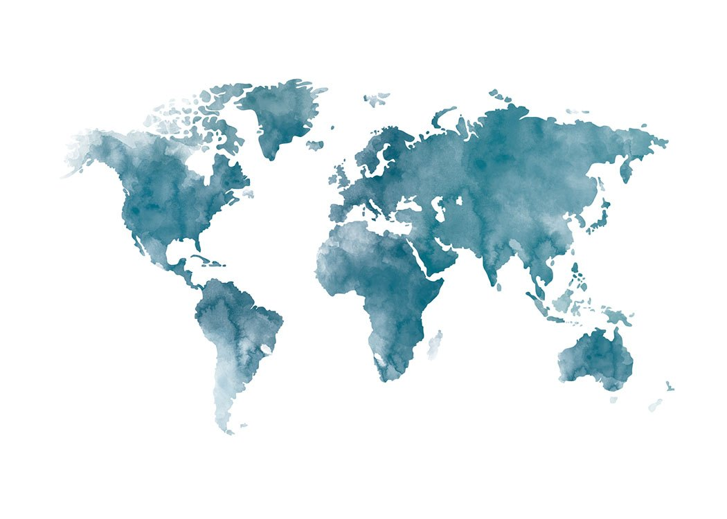 World Map Blue, Poster
