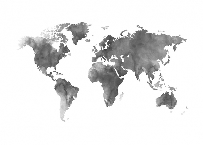 – Watercolour painting of a grey world map on a white background