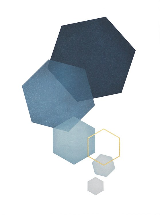– Graphic hexagons in blue with gold details on a white background