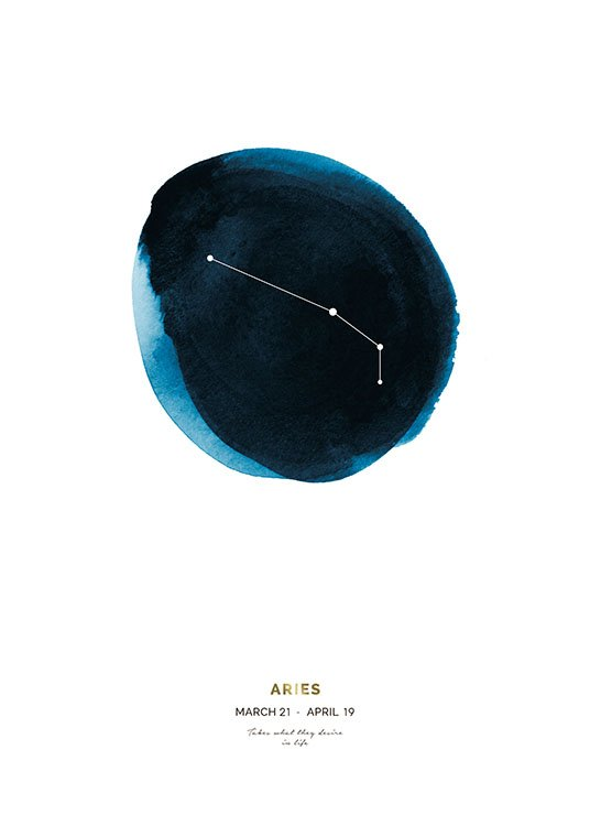 – Aries zodiac sign on a blue circle painted in watercolour, with text at the bottom