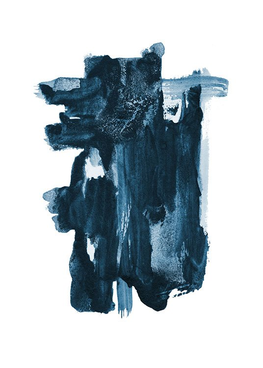 – Painting with a blue, abstract shape painted on a white background