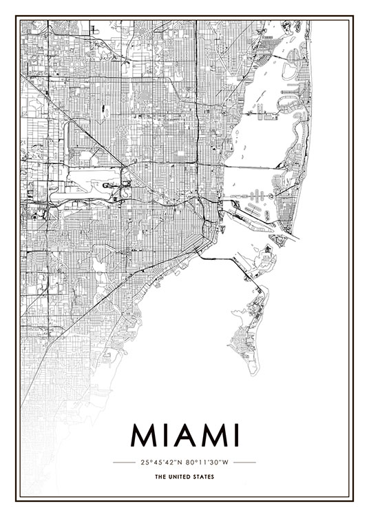 Miami Map Poster / Black & white at Desenio AB (8719)