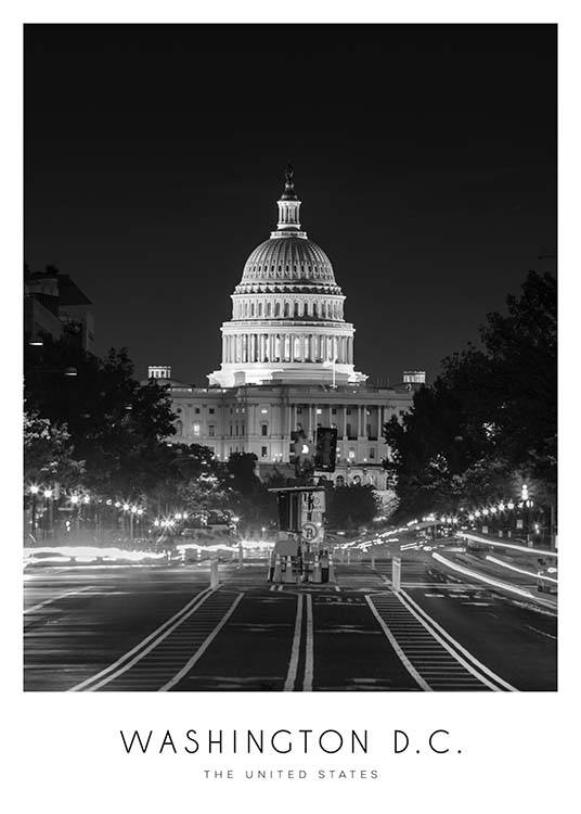 Washington Poster / Black & white at Desenio AB (8921)