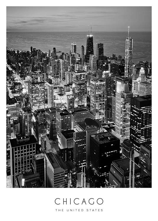Chicago Poster / Black & white at Desenio AB (8923)
