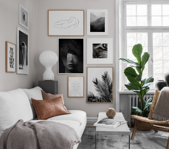 53 Inspirational Living Room Decor Ideas: Inspiration For Black-and-white Decor. Art In Black-and