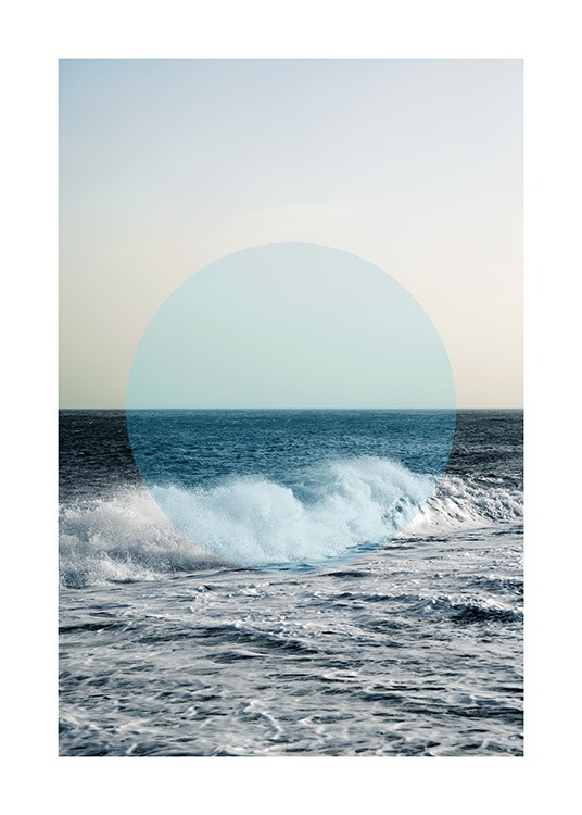 - Photograph of an ocean with a wave at the front and a blue circle in the middle