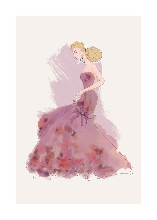 – Illustration by Lars Wallin of a woman in a purple gown with detailing on the skirt