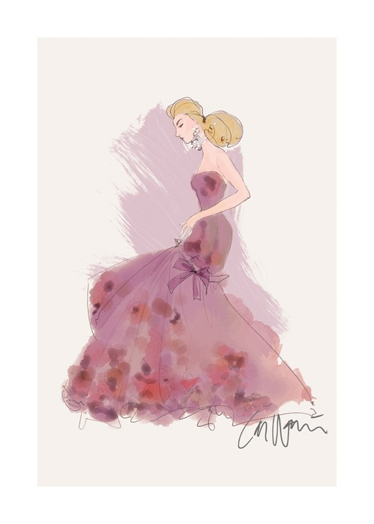 – Illustration of a woman wearing a long, purple dress with pink details