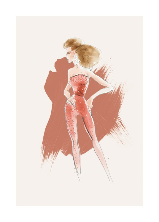 – Illustration of a woman in a jumpsuit in red with pearls on it against a beige background with red brush strokes