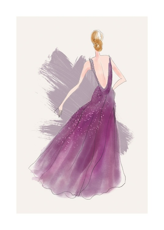 – Illustration of a woman in a long, purple dress with sequin details, against a beige background with purple brush strokes