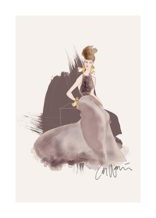 – Illustration of a woman in a long dress in dark grey with pearls on the bodice against a beige background