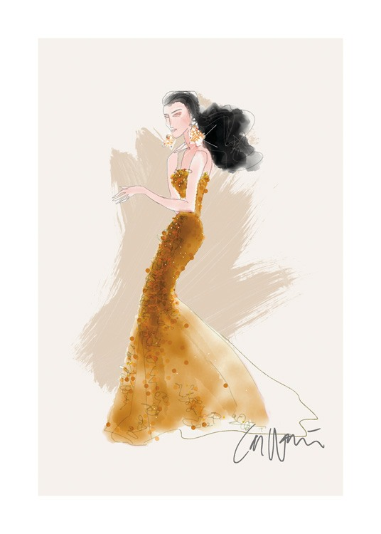 – Illustration of a woman in a dark yellow sequin dress and diamond earrings against a beige background