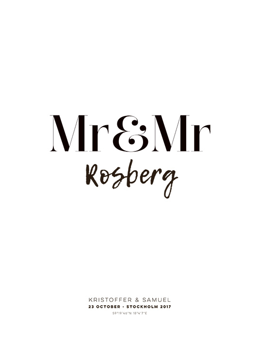 Mr and Mr Personal Poster / Personalised prints at Desenio AB (pp0013)