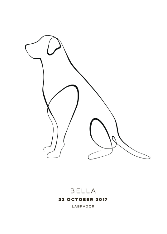 - Illustration of a dog on a white background with text underneath