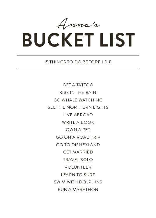 - Text print in black and white with a bucket list to personalise