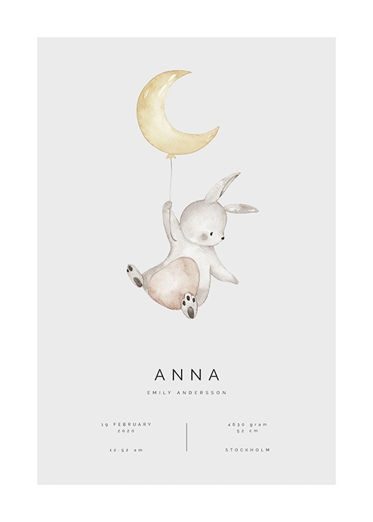 – Illustration of a baby bunny flying with a balloon shaped like a moon, with text underneath