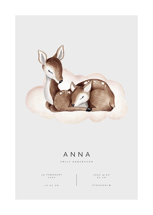 – Illustration of two brown deer sleeping on a pink cloud, on a grey background with text underneath